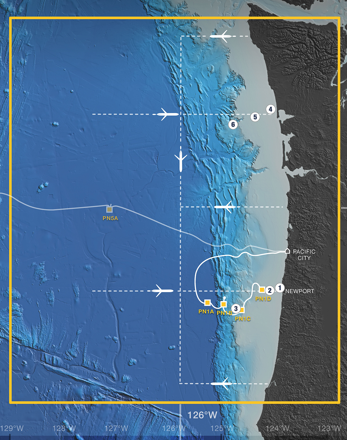 OOI Coastal Endurance Array, located off the coast of Oregon and Washington