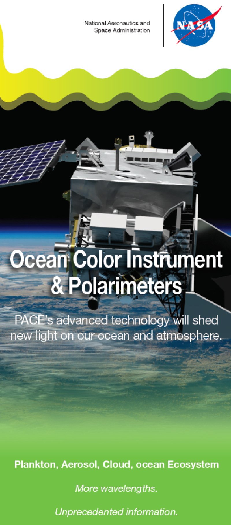 A brochure featuring PACE's Ocean Color Instrument, the Spectro-Polarimeter for Planetary Exploration (SPEXone), and the Hyper Angular Rainbow Polarimeter (HARP2).