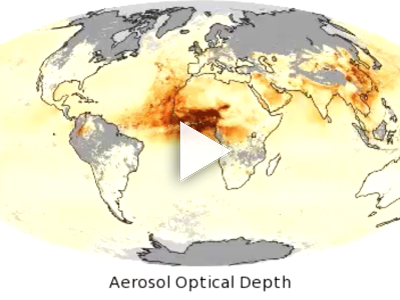Particles affect how the atmosphere reflects and absorbs visible and infrared light. Higher Aerosol Optical Depth values indicate hazy conditions while low values correspond to clear skies.