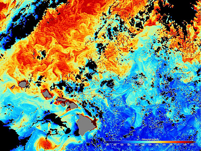 A satellite image shows the cruise track against a background of ocean color data. Colors indicate the amount of chlorophyll, where red is the highest and blue the lowest. Credit: NASA/Norman Kuring