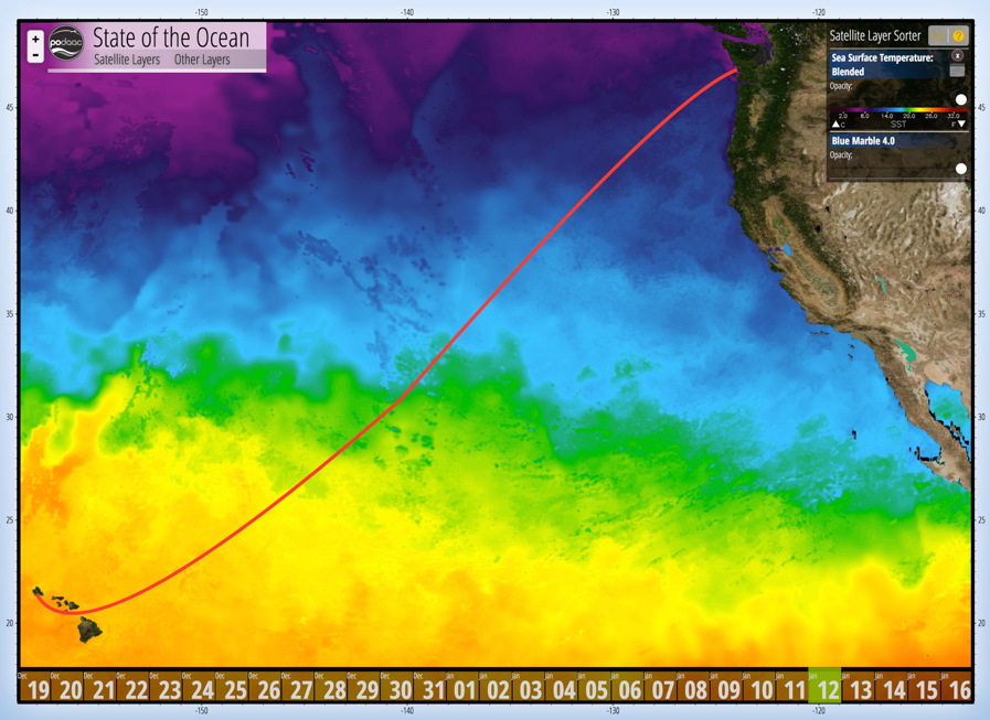 Current sea-surface temperatures with the approximate track of the R/V <em>Falkor</em> from Hawaii to the U.S. Pacific Northwest.