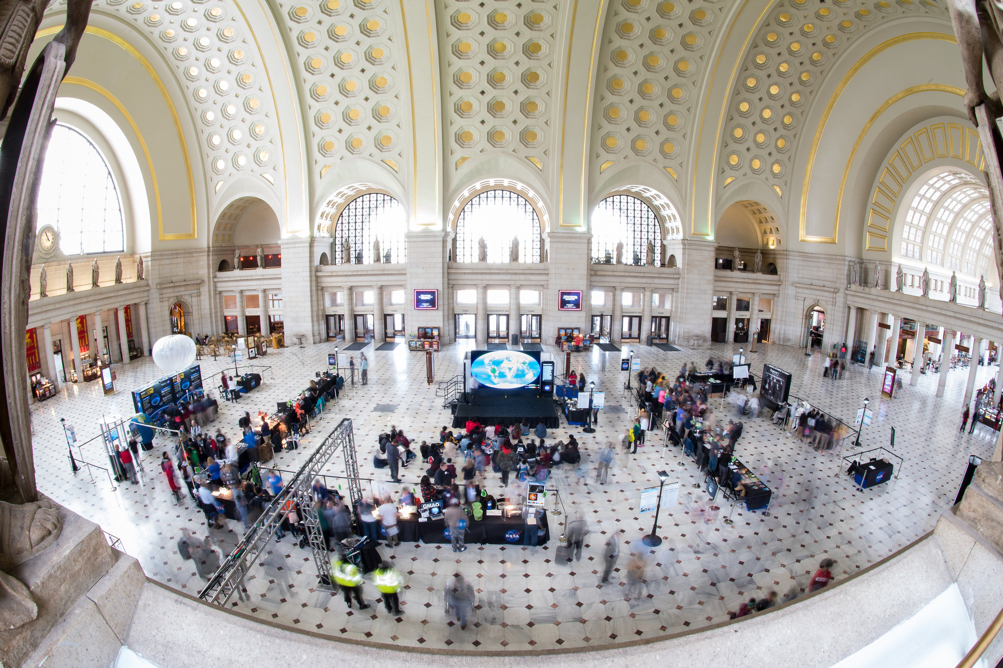 A view of the exhibits at the NASA Earth Day event on Thursday, April 19, 2018 at Union Station in Washington, D.C.