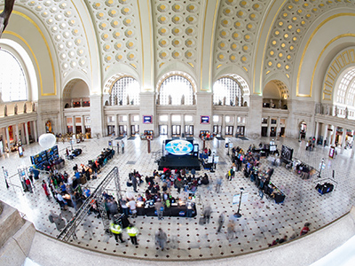 A view of the exhibits at the NASA Earth Day event on Thursday, April 19, 2018 at Union Station in Washington, D.C. Credit: NASA/Aubrey Gemignani