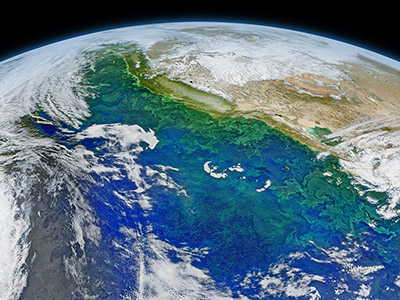 The NSF-NASA EXPORTS project will track the fate of phytoplankton (green) in the Pacific Ocean.