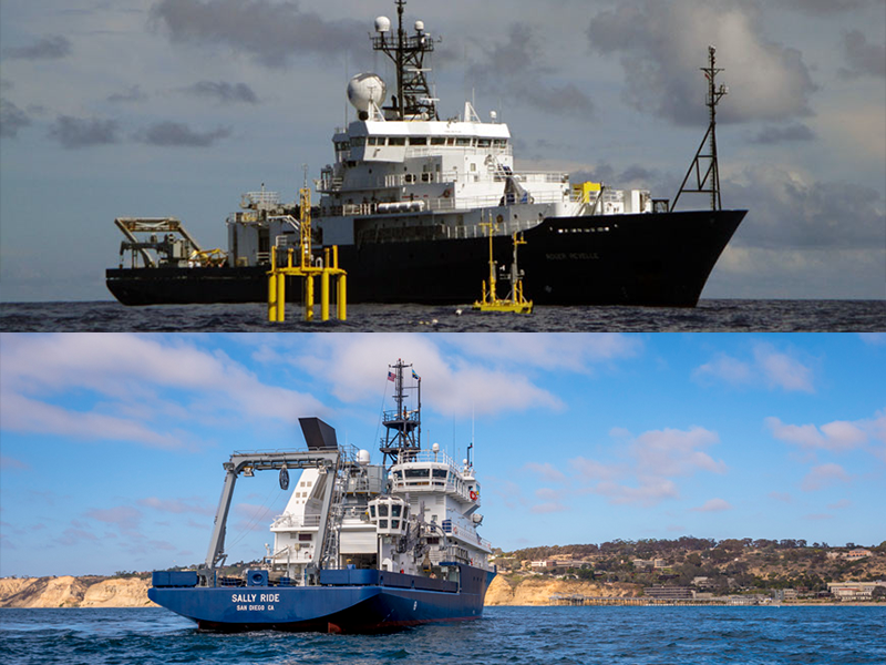 The first EXPORTS field deployment will be to the Northeast Pacific Ocean in late summer 2018 and will utilize two research vessels: The R/V <em>Roger Revelle</em> (pictured at top) and R/V <em>Sally Ride</em> (pictured at bottom).