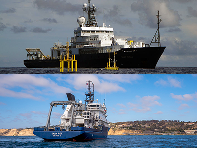 The first EXPORTS field deployment will be to the Northeast Pacific Ocean in late summer 2018 and will utilize two research vessels: The R/V <em>Roger Revelle</em> (pictured at top) and R/V <em>Sally Ride</em> (pictured at bottom). Credit: Scripps Institution of Oceanography