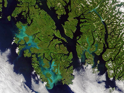 This satellite image shows milky blue waters near Prince of Wales Island, Alaska. The coloration is thought to be caused by a bloom of non-toxic phytoplankton known as coccolithophores. The image was acquired on 21-July by the Moderate Resolution Imaging Spectroradiometer (MODIS) on the NASA Terra satellite. Credit: NASA