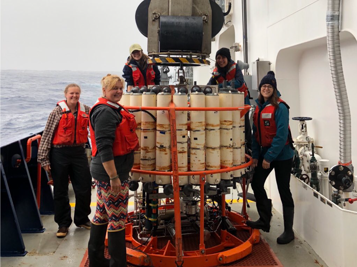 Scientists prepare to deploy a Conductivity, Temperature, and Depth (CTD) instrument