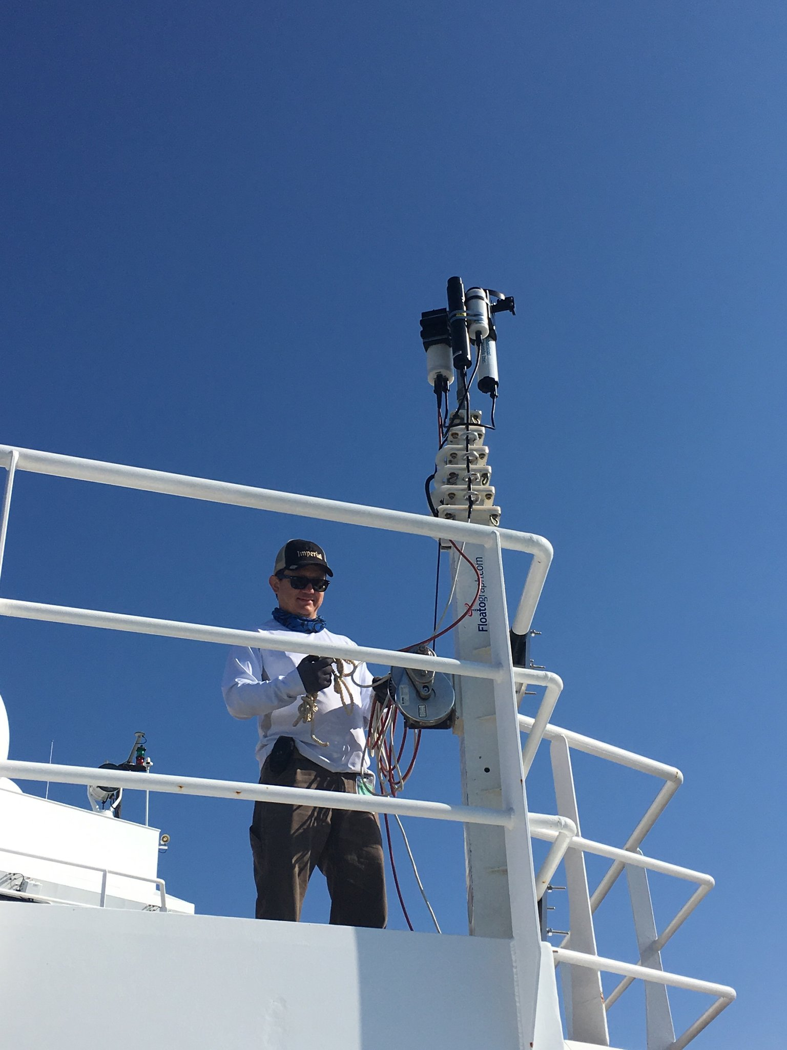 Ship-based radiometers (seen here attached to a deck rail) will collect hyperspectral data on ocean color during EXPORTS. The hyperspectral measurements will be similar to those that will be used aboard the PACE mission.