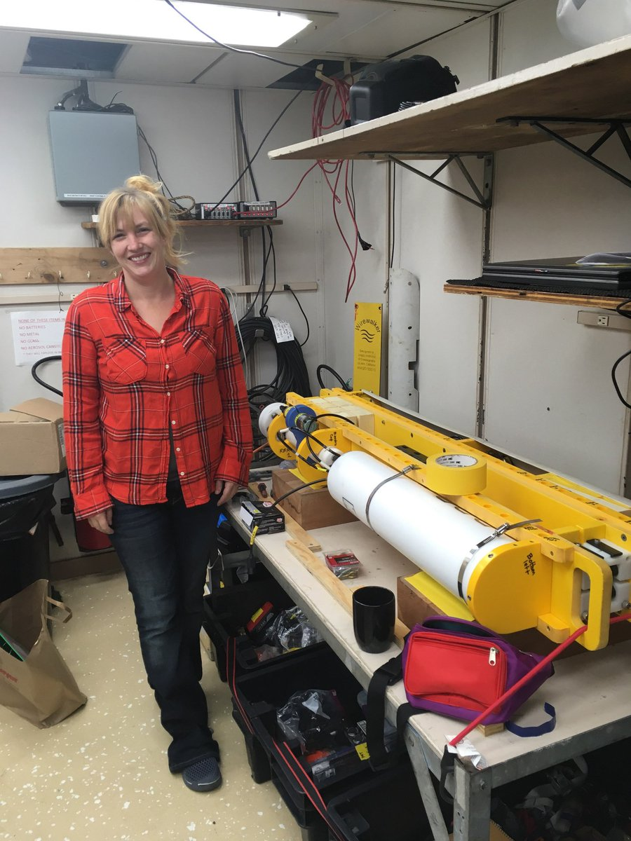 Dr. Melissa Omand (University of Rhode Island) assembles a wirewalker, an autonomous platform that will be used to collect high frequency data on ocean physics, chemistry and biology during the EXPORTS cruise.