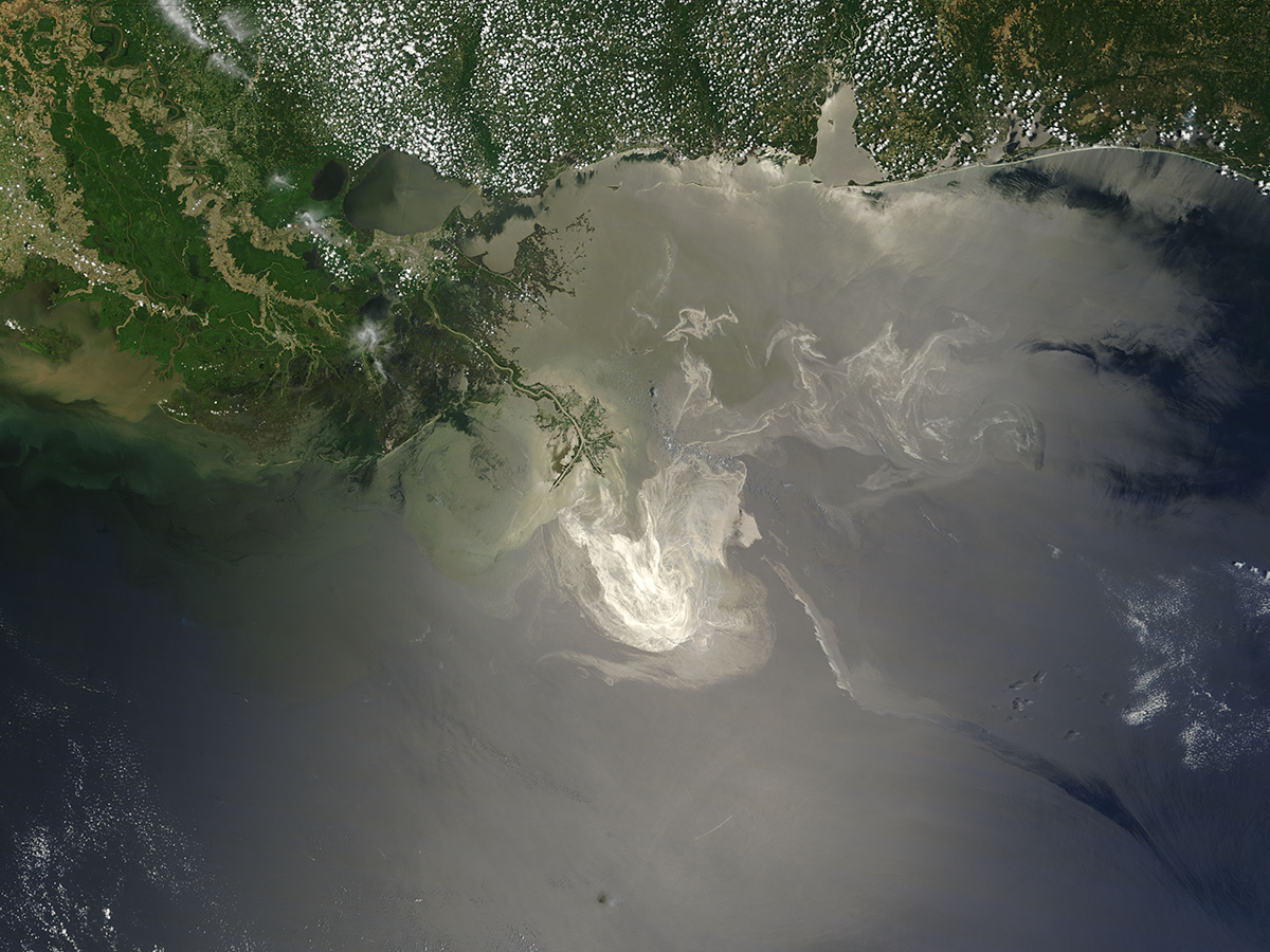 This natural-color image shows the lingering oil slick from Deepwater Horizon off the Mississippi Delta