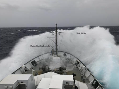 A view of the HyperSAS radiometer in the bow during rough seas. The lenses of the radiometer must be cleaned periodically because of sea spray. Credit: Kirsten Carlson (SOI)