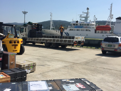 Packing of the R/V <em>Onnuri</em> for the KORUS-OC cruise. Credit: Joaquim Goes