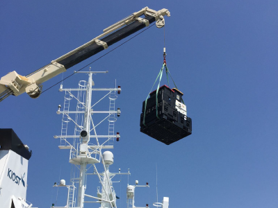 On-board cranes lift heavier KORUS-OC equipment onto the deck of the R/V <em>Onnuri</em>. Credit: Joaquim Goes