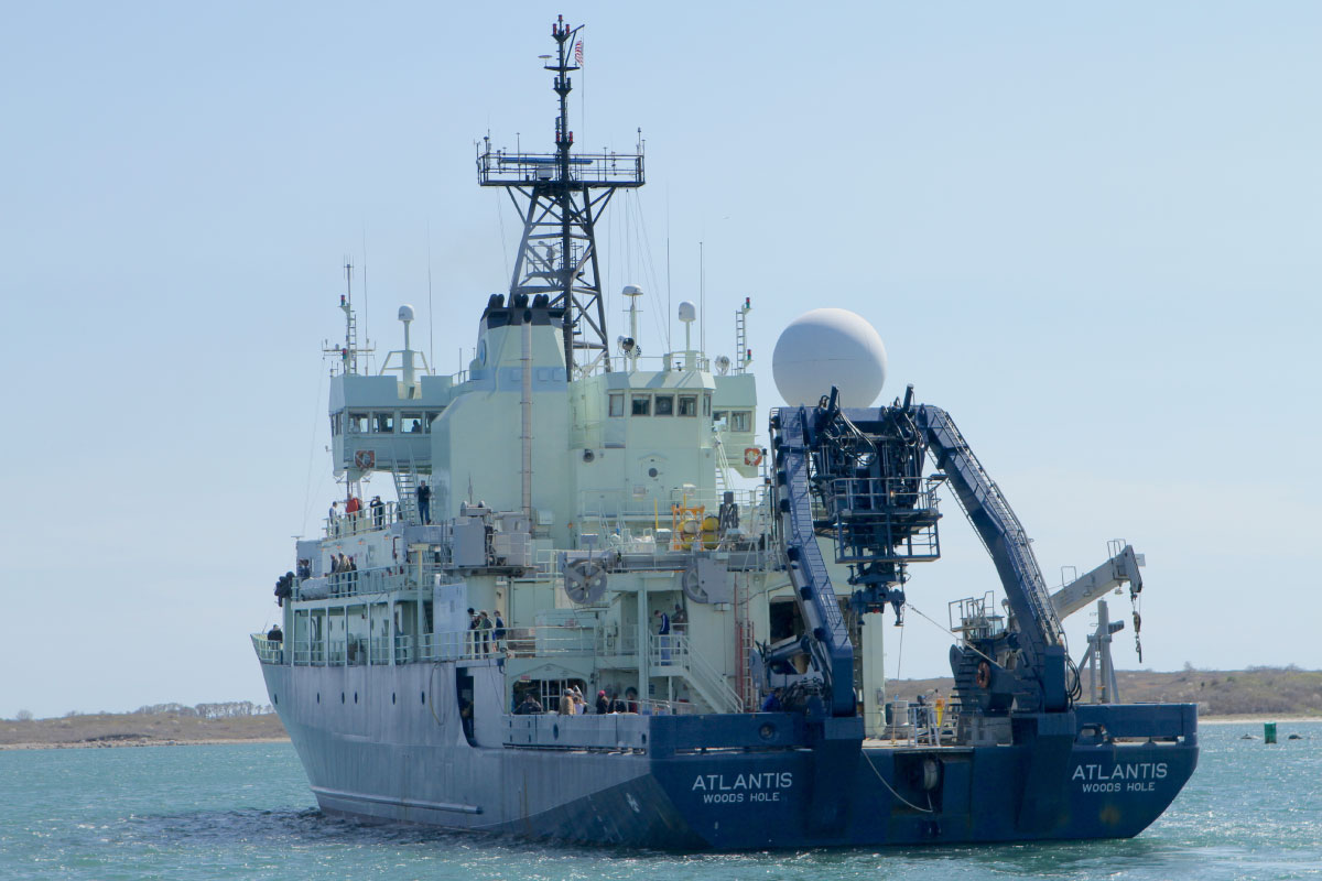 R/V <em>Atlantis</em> steams away from Woods Hole, headed to the North Atlantic.