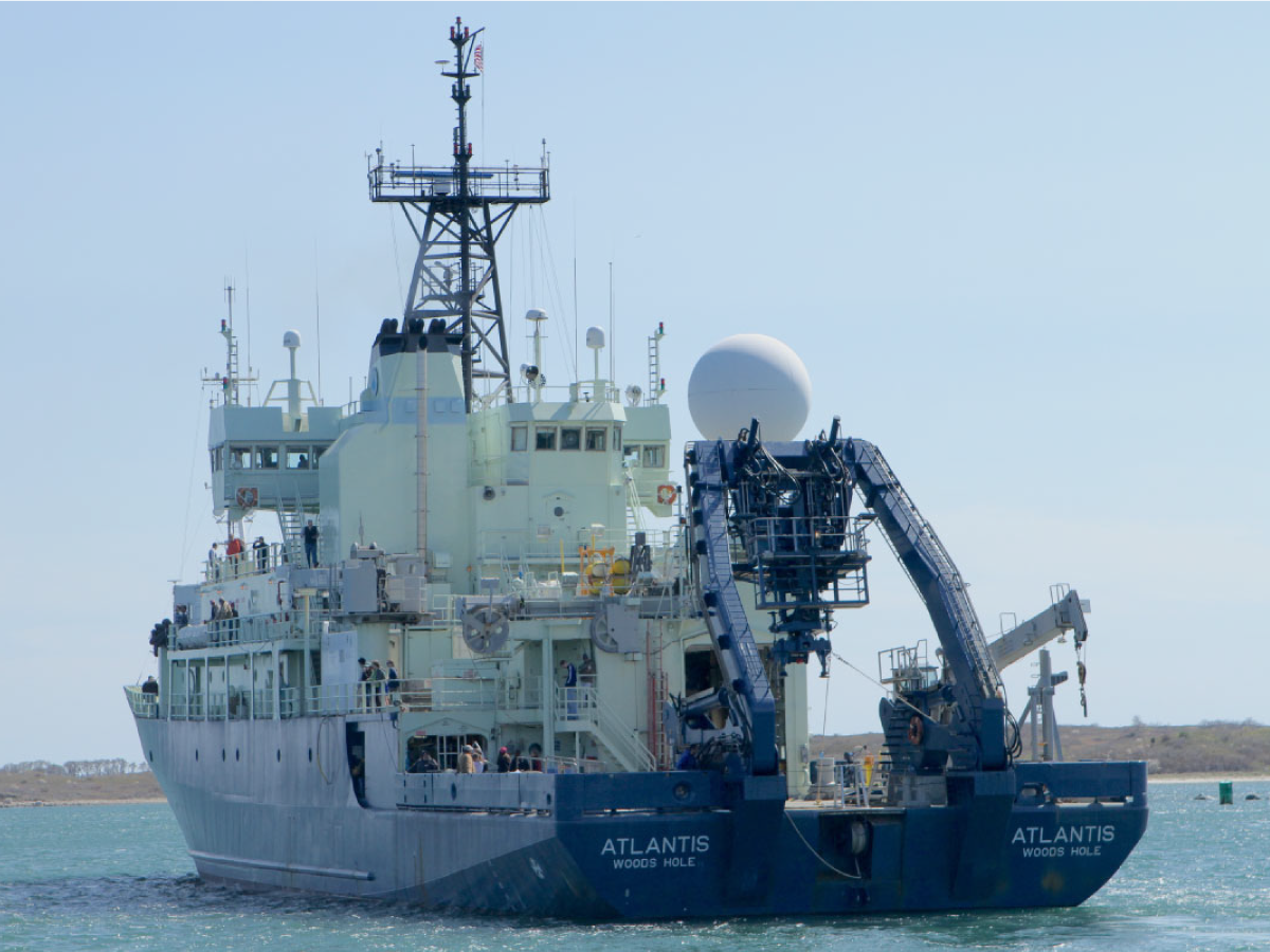 R/V <em>Atlantis</em> steams away from Woods Hole for the North Atlantic
