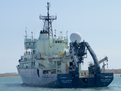 R/V <em>Atlantis</em> steams away from Woods Hole, headed to the North Atlantic. Credit: Michael Starobin/NASA