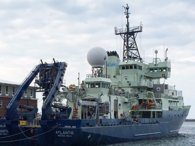 The R/V <em>Atlantis</em>, operated by the Woods Hole Oceanographic Institution (WHOI), in port. Credit: Dick Pittenger/WHOI