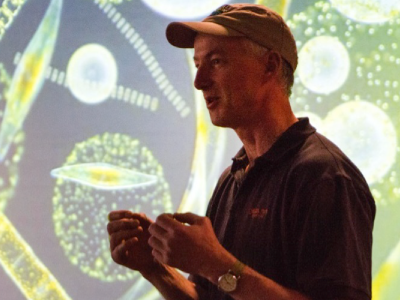 NAAMES Chief Scientist Mike Behrenfeld explains the importance of plankton for life on Earth. Credit: NASA/Michael Starobin