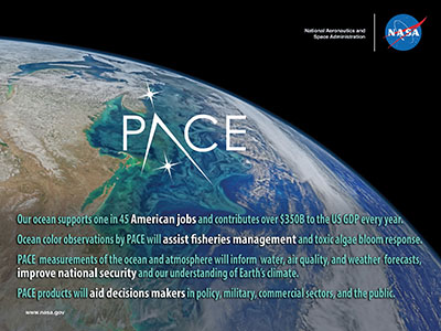 PACE will be the first mission to provide measurements that enable prediction of the boom-bust of fisheries, the appearance of harmful algae, and other factors that affect commercial and recreational industries.