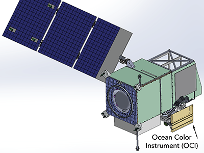 Illustration of the PACE observatory with solar panel (dark blue) deployed. In this perspective, the Ocean Color Instrument is located toward the bottom right. The S-band omni-directional command and telemetry antenna is pointing down (foreground). Credit: NASA PACE