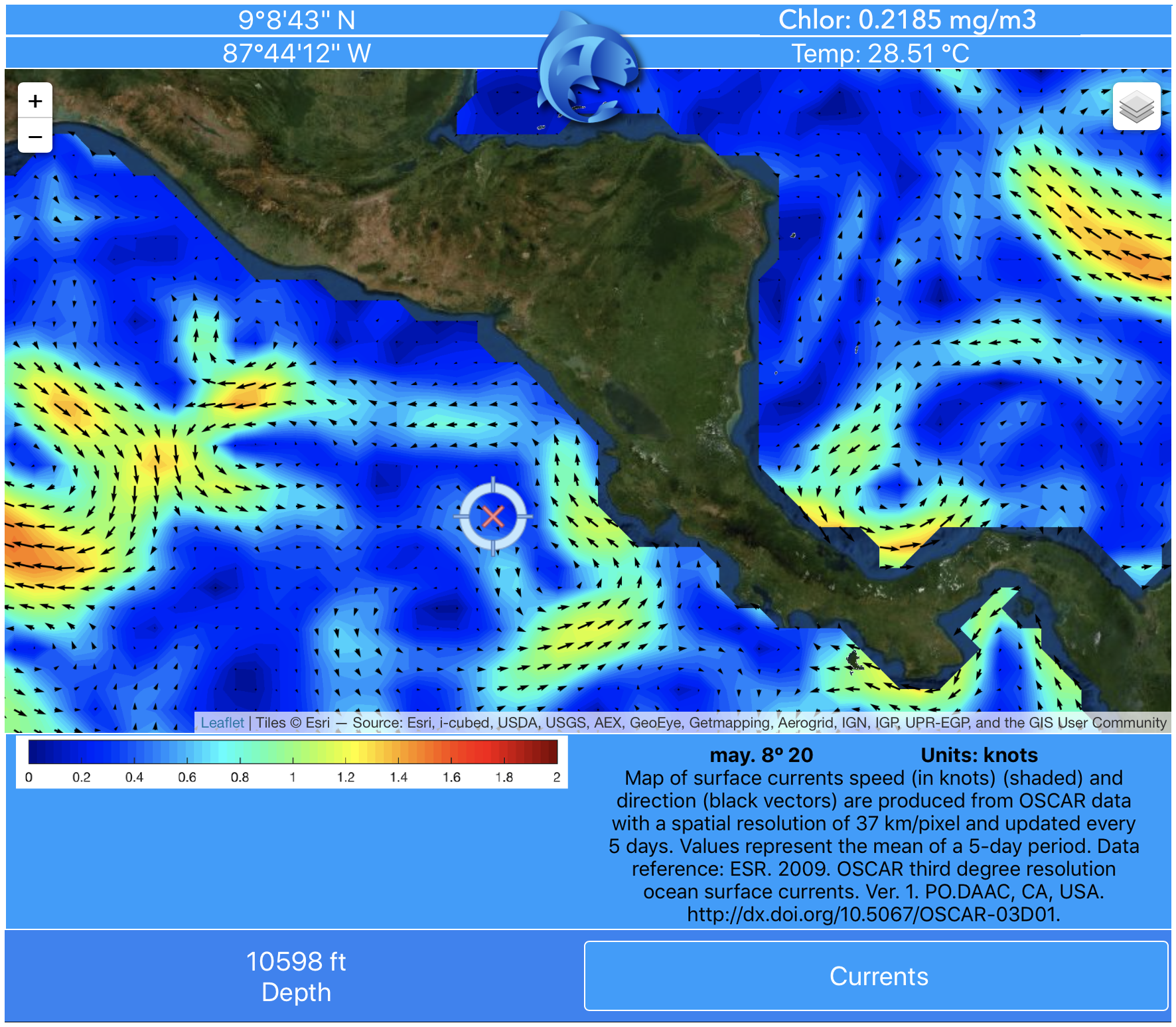 Information on currents around Central America from pezCA