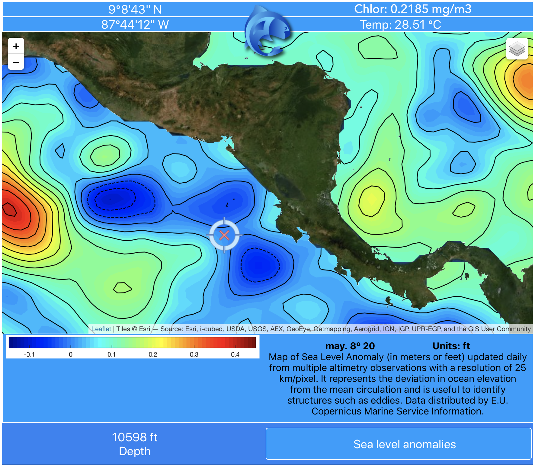 Sea level anomaly data map off Central America from pezCA