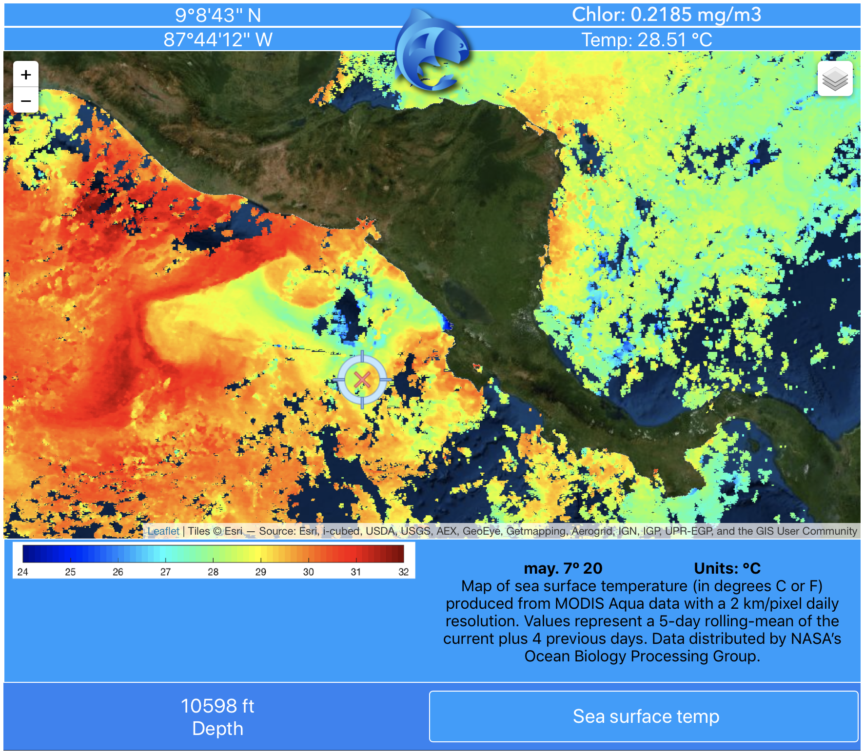 Sea surface temperature data map off Central America from pezCA