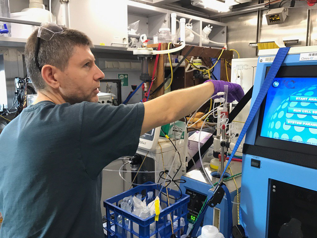 Antonio Mannino measures rates of biological processes for the Sea to Space Particle Investigation.