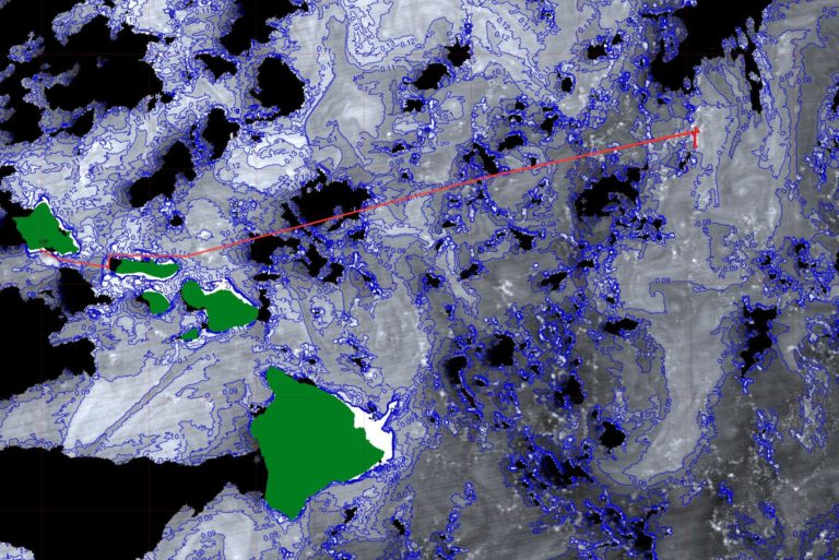 Ocean chlorophyll concentrations from the Suomi-NNP VIIRS instrument are shown, along with the R/V <em>Falkor</em> ship track and Hawaiian Islands (green). Chlorophyll data were acquired on 27-Jan-17 (22:54 UTC) and are contoured at 0.1 milligrams per cubic meter.