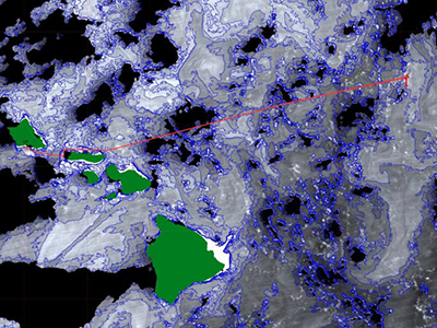 Ocean chlorophyll concentrations from the Suomi-NNP VIIRS instrument are shown, along with the R/V <em>Falkor</em> ship track and Hawaiian Islands (green). Chlorophyll data were acquired on 27-Jan-17 (22:54 UTC) and are contoured at 0.1 milligrams per cubic meter. Credit: Norman Kuring/NASA