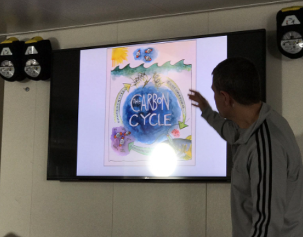 Dr. Antonio Mannino gives a talk on the R/V <em>Falkor</em>. The image on screen that depicts the carbon cycle was produced by the artist in residence.