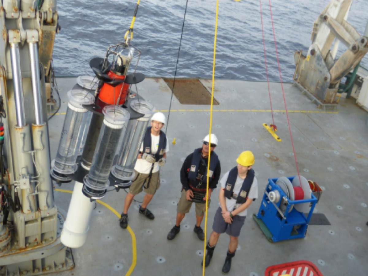 A neutrally buoyant sediment trap (NBST) is deployed