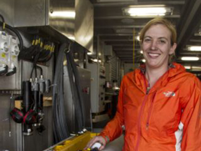 Melissa Omand will work with her shipmates to analyze data collected by the Wirewalker. These measurements will be used to understand how carbon moves within the ocean. Credit: Schmidt Ocean Institute