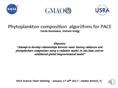 Phytoplankton Composition Algorithms for PACE