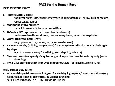PACE for the Human Race : Ideas for White Papers