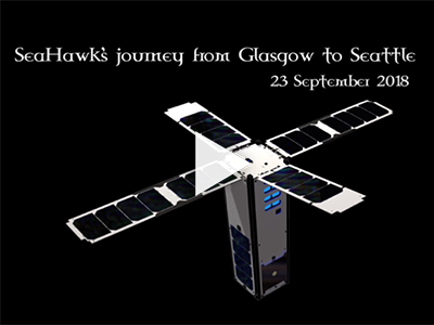 The SeaHawk CubeSat travels from Clyde Space Ltd in Glasgow, Scotland to the launch provider, Spaceflight Industries, in Seattle, WA. Credit: NASA GSFC