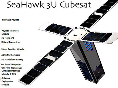 Overview of SOCON's first spacecraft - the SeaHawk CubeSat satellite. Manufactured by Clyde Space Ltd, the Seahawk CubeSat will carry HawkEye, a high spatial resolution, multispectral, ocean color sensor built by  Cloudland Instruments, LLC. Credit: NASA GSFC
