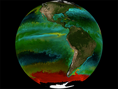 Understanding the location and traits of phytoplankton is key to discovering their roles in the ocean ecosystem. The colors on this map represent types of phytoplankton modeled by a high-resolution ocean and ecosystem model. Credit: The Darwin Project (MIT)