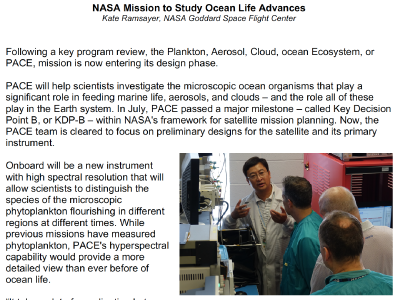 NASA Mission to Study Ocean Life Advances