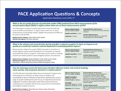 PACE Applications Traceability Matrix: Questions & Concepts (One-pager)