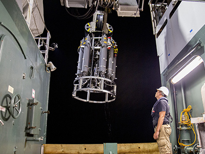 A CTD and Water Sampling System Rosette is Prepared for Deployment