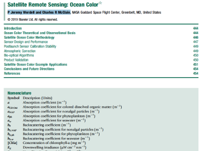 Satellite Remote Sensing: Ocean Color