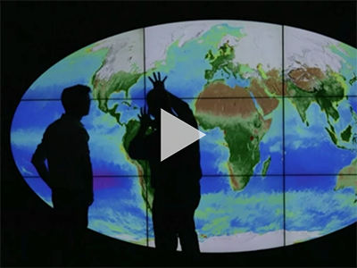 On a BBC news video, Dr. Jeremy Werdell is interviewed about a new NASA visualization featuring 20 years of ocean color data. Credit: Video by Paul Blake / BBC